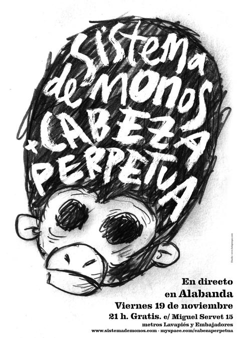 Sistema de Monos + Cabeza Perpetua en directo en Alabanda
